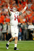 Jake Coker of the Alabama Crimson Tide celebrates after Derrick Henry scored a one yard touchdown in the fourth quarter against the Clemson Tigers...