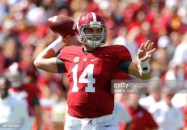 Jake Coker of the Alabama Crimson Tide looks to pass against the Middle Tennessee Blue Raiders at BryantDenny Stadium on September 12 2015 in...