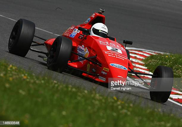 Jake Cook of Great Britain drives the Jamun Racing Mygale M12SJ Scholar during practice for the Dunlop MSA Formula Ford Championship race at the...