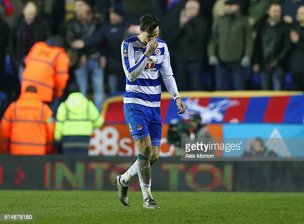 Jake Cooper of Reading looks dejected as he is sent off during the Emirates FA Cup sixth round match between Reading and Crystal Palace at Madejski...