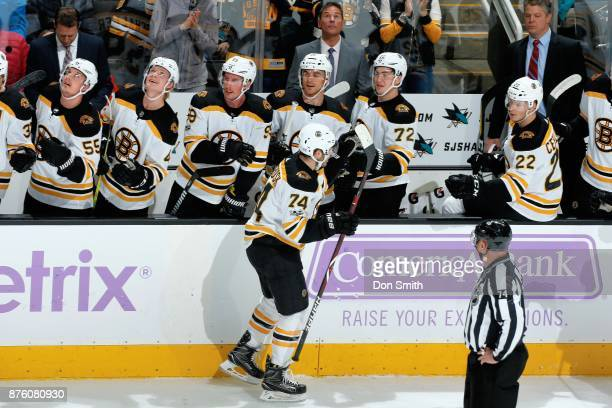 Jake DeBrusk of the Boston Bruins celebrates his first period goal with teammates during a NHL game against the San Jose Sharks at SAP Center on...