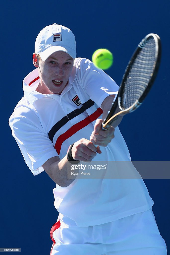 Jake Delaney of Australia plays a backhand in his first round match against Hyeon Chung of Korea during the 2013 Australian Open Junior Championships at Melbourne Park on January 19, 2013 in Melbourne, Australia.