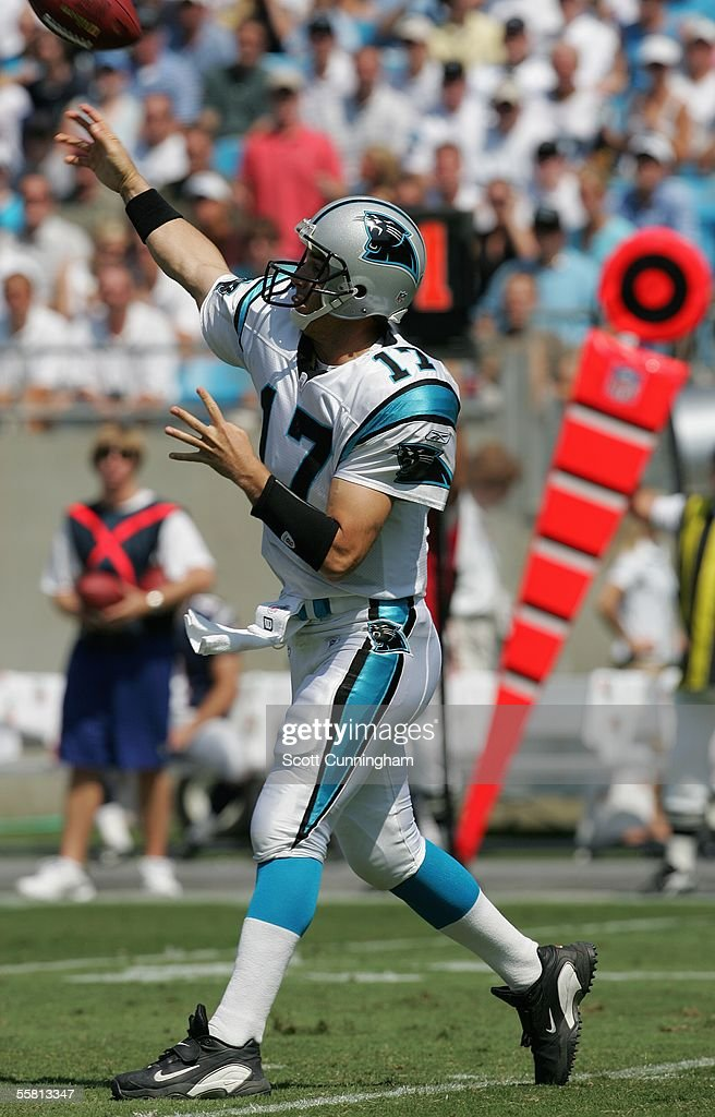 Jake Delhomme #17 of the Carolina Panthers passes against the New England Patriots at Bank of America Stadium on September 18, 2005 in Charlotte, North Carolina. The Panthers defeated the Patriots 27-17.