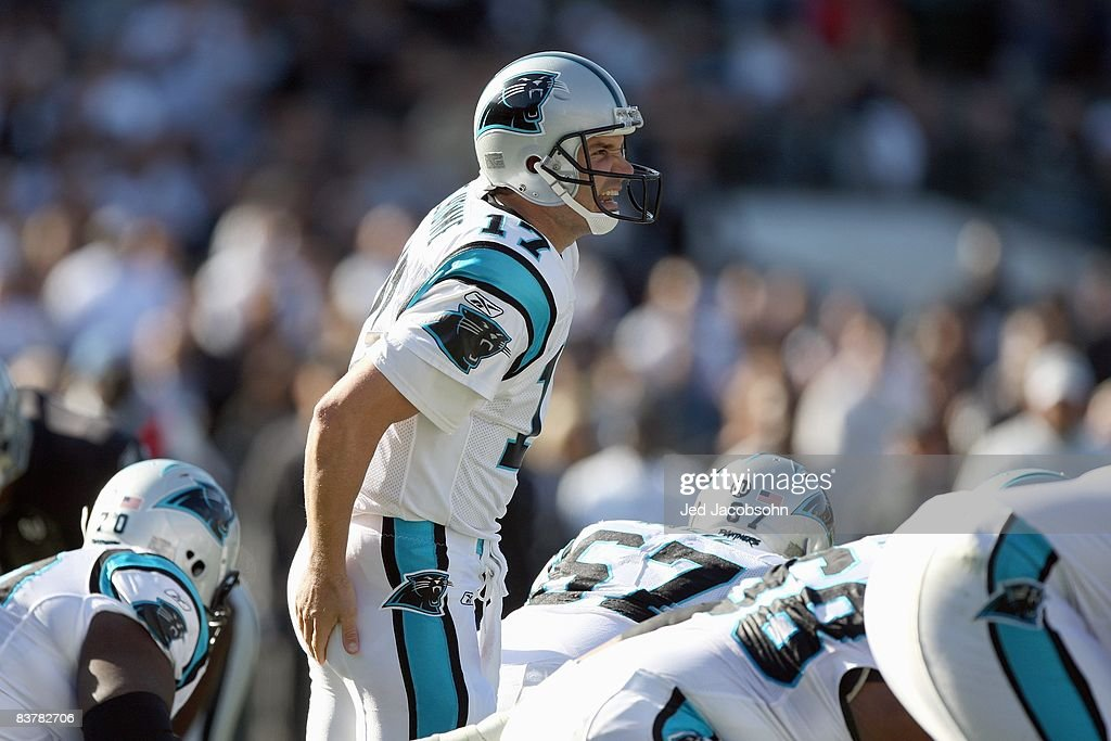 Jake Delhomme #17 of the Carolina Panthers yells at the line of scrimmage during the game against the Oakland Raiders at the Oakland-Alameda County Coliseum on November 9, 2008 in Oakland, California.