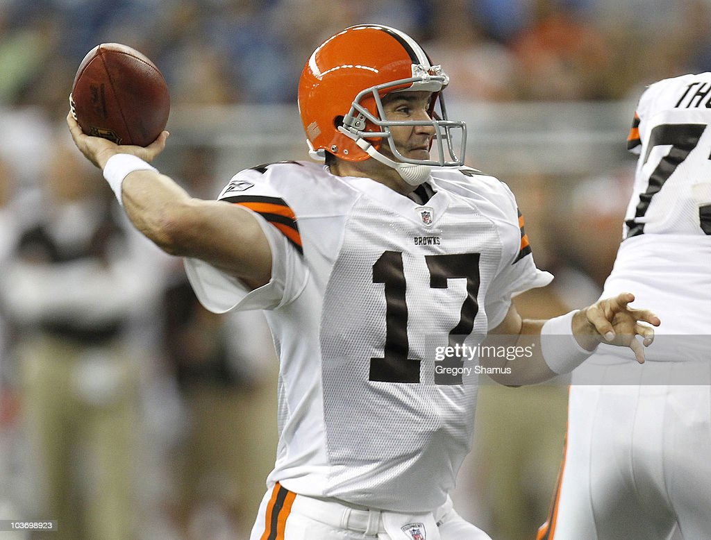 Jake Delhomme #17 of the Cleveland Browns throws a first quarter pass while playing the Detroit Lions during preseason game on August 28, 2010 at Ford Field in Detroit, Michigan.
