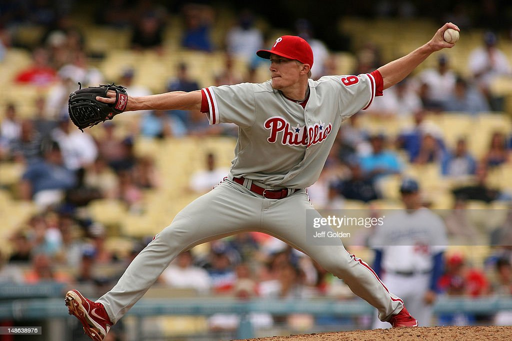Jake Diekman #63 of the Philadelphia Phillies pitches against the Los Angeles Dodgers in the 11th inning at Dodger Stadium on July 18, 2012 in Los Angeles, California.