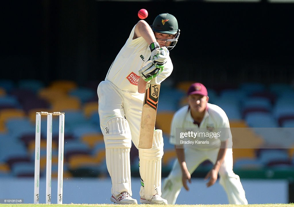 Jake Doran of Tasmania bats during day one of the Sheffield Shield match between Queensland and Tasmania at The Gabba on February 14, 2016 in Brisbane, Australia.