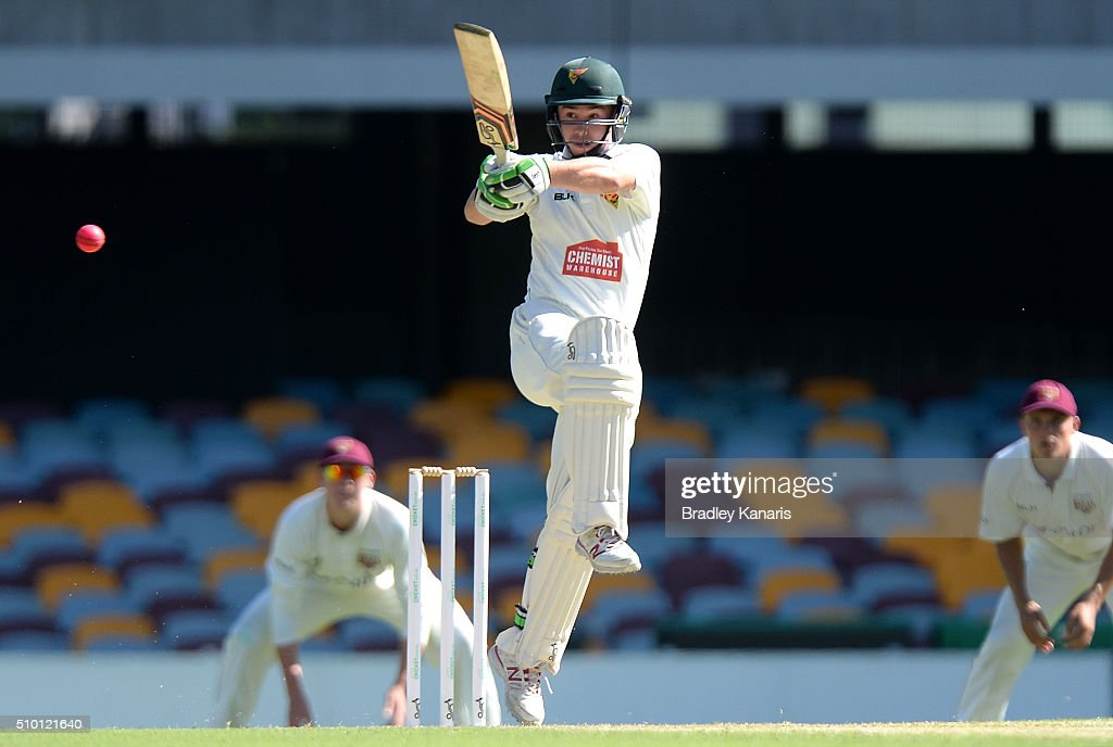 Jake Doran of Tasmania plays a shot during day one of the Sheffield Shield match between Queensland and Tasmania at The Gabba on February 14, 2016 in Brisbane, Australia.