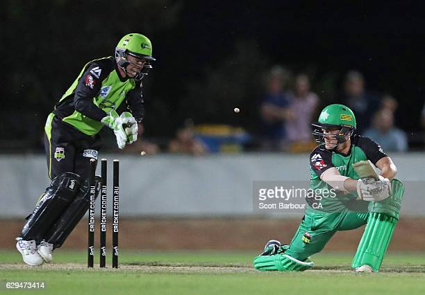 Jake Doran of the Thunder celebrates after stumping Seb Gotch of the Stars during the Twenty20 Border Bash match between the Melbourne Stars and the...