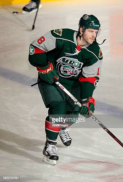 Jake Dowell of the Houston Aeros skates up ice against Toronto Marlies during AHL game action February 18 2013 at Ricoh Coliseum in Toronto Ontario...