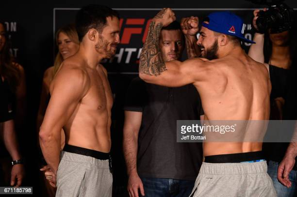 Jake Ellenberger and Mike Perry face off during the UFC Fight Night weighin at the Sheraton Music City Hotel on April 21 2017 in Nashville Tennessee