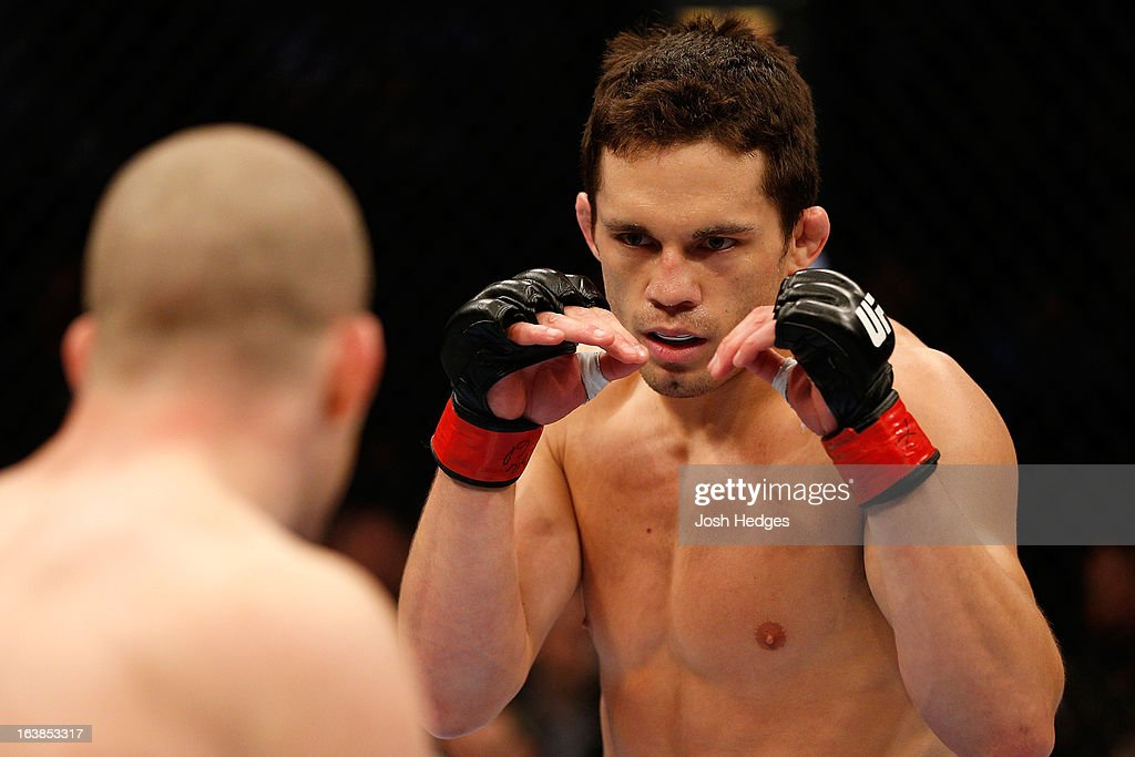Jake Ellenberger squares off with Nate Marquardt in their welterweight bout during the UFC 158 event at Bell Centre on March 16, 2013 in Montreal, Quebec, Canada.