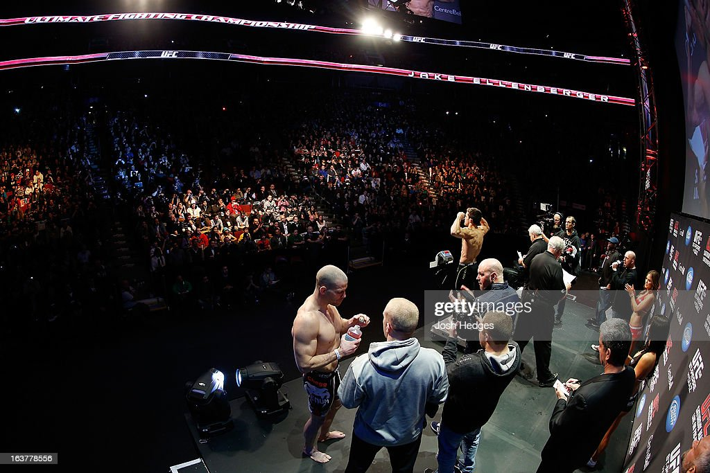 <a gi-track='captionPersonalityLinkClicked' href=/galleries/search?phrase=Jake+Ellenberger&family=editorial&specificpeople=4509591 ng-click='$event.stopPropagation()'>Jake Ellenberger</a> weighs in during the UFC 158 weigh-in at Bell Centre on March 15, 2013 in Montreal, Quebec, Canada.