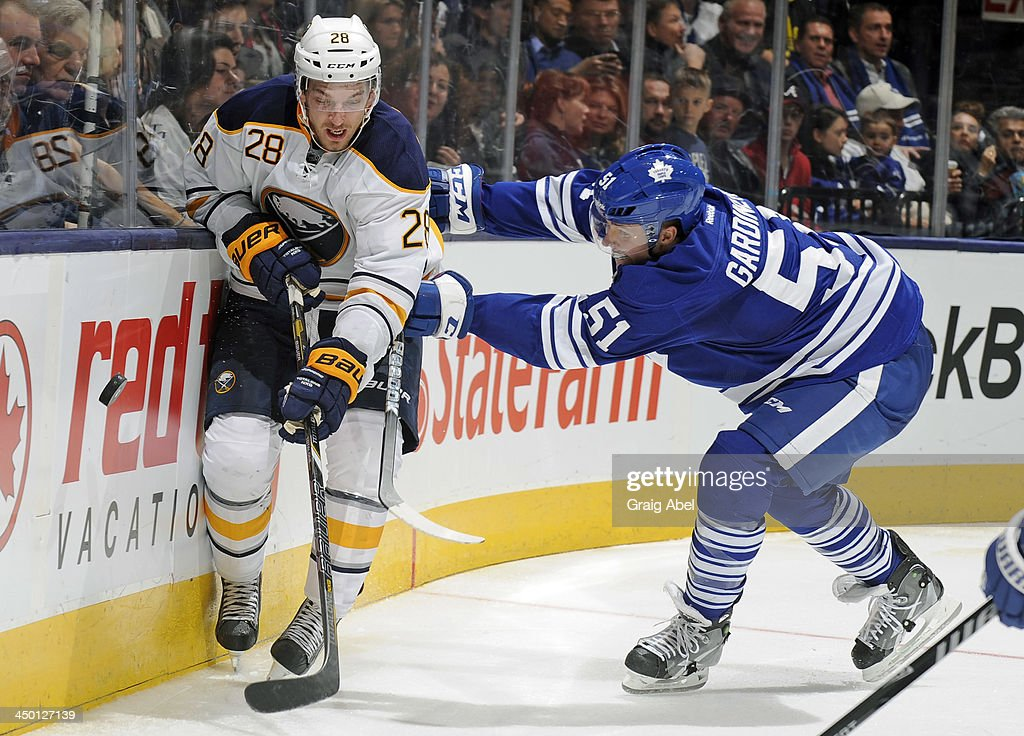 <a gi-track='captionPersonalityLinkClicked' href=/galleries/search?phrase=Jake+Gardiner&family=editorial&specificpeople=4884939 ng-click='$event.stopPropagation()'>Jake Gardiner</a> #51 of the Toronto Maple Leafs battles for the puck with <a gi-track='captionPersonalityLinkClicked' href=/galleries/search?phrase=Zemgus+Girgensons&family=editorial&specificpeople=8050732 ng-click='$event.stopPropagation()'>Zemgus Girgensons</a> #28 of the Buffalo Sabres during NHL game action November 16, 2013 at the Air Canada Centre in Toronto, Ontario, Canada.