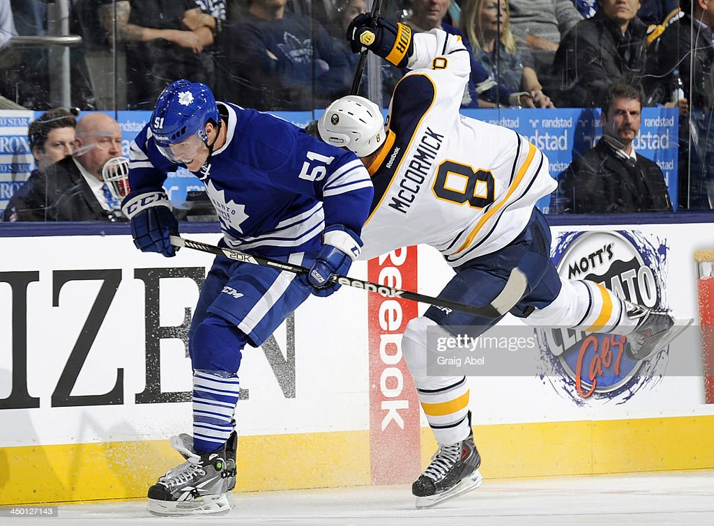 <a gi-track='captionPersonalityLinkClicked' href=/galleries/search?phrase=Jake+Gardiner&family=editorial&specificpeople=4884939 ng-click='$event.stopPropagation()'>Jake Gardiner</a> #51 of the Toronto Maple Leafs checks <a gi-track='captionPersonalityLinkClicked' href=/galleries/search?phrase=Cody+McCormick&family=editorial&specificpeople=213546 ng-click='$event.stopPropagation()'>Cody McCormick</a> #8 of the Buffalo Sabres during NHL game action November 16, 2013 at the Air Canada Centre in Toronto, Ontario, Canada.