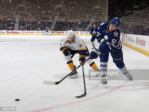 Jake Gardiner of the Toronto Maple Leafs skates against the Nashville Predators at the Air Canada Centre on November 18 2014 in Toronto Canada The...