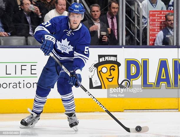 Jake Gardiner of the Toronto Maple Leafs skates during NHL game action against the Columbus Blue Jackets November 25 2013 at the Air Canada Centre in...