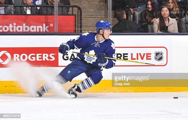Jake Gardiner of the Toronto Maple Leafs skates during NHL game action against the Buffalo Sabres March 11 2015 at the Air Canada Centre in Toronto...