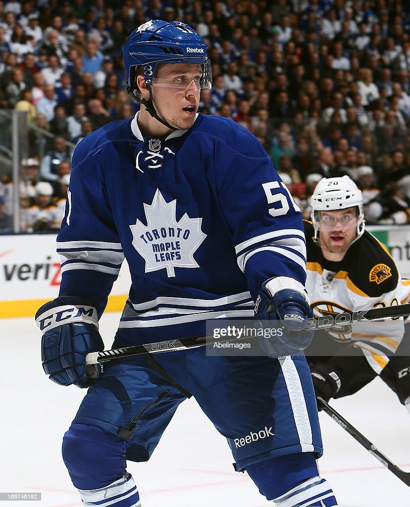 Jake Gardiner #51 of the Toronto Maple Leafs skates up the ice against the Boston Bruins in Game Six of the Eastern Conference Quarterfinals during the 2013 NHL Stanley Cup Playoffs May 12, 2013 at the Air Canada Centre in Toronto, Ontario, Canada.