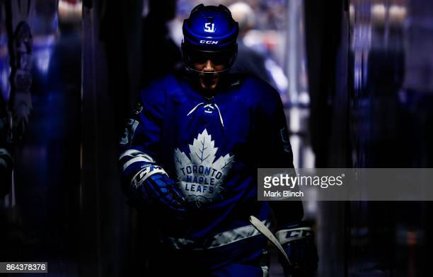 Jake Gardiner of the Toronto Maple Leafs walks through the hallway prior to the game against the Detroit Red Wings at the Air Canada Centre on...