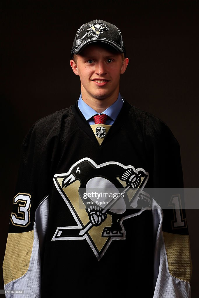 Jake Guentzel, 77th pick overall by the Pittsburgh Penguins, poses for a portrait during the 2013 NHL Draft at the Prudential Center on June 30, 2013 in Newark, New Jersey.