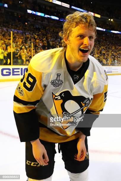 Jake Guentzel of the Pittsburgh Penguins celebrates after defeating the Nashville Predators 20 in Game Six of the 2017 NHL Stanley Cup Final at the...
