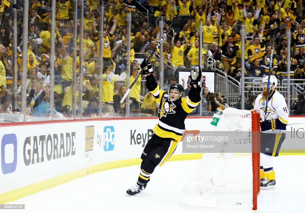 Jake Guentzel #59 of the Pittsburgh Penguins celebrates after scoring a goal during the third period in Game One of the 2017 NHL Stanley Cup Final against the Nashville Predators at PPG Paints Arena on May 29, 2017 in Pittsburgh, Pennsylvania.