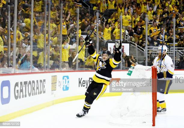 Jake Guentzel of the Pittsburgh Penguins celebrates after scoring a goal during the third period in Game One of the 2017 NHL Stanley Cup Final...