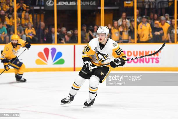 Jake Guentzel of the Pittsburgh Penguins pursues the play in the first period of Game Six of the 2017 NHL Stanley Cup Final against the Nashville...