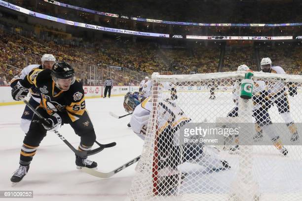 Jake Guentzel of the Pittsburgh Penguins scores a goal past Pekka Rinne of the Nashville Predators during the first period in Game Two of the 2017...