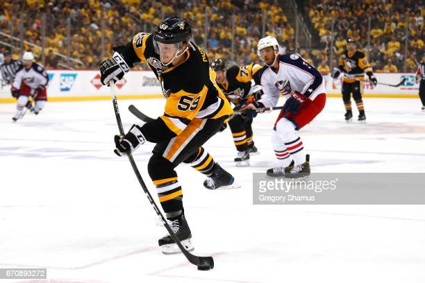 Jake Guentzel of the Pittsburgh Penguins shoots in the second period while playing the Pittsburgh Penguins in Game Five of the Eastern Conference...