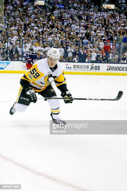 Jake Guentzel of the Pittsburgh Penguins skates after the puck in Game Three of the Eastern Conference First Round during the 2017 NHL Stanley Cup...