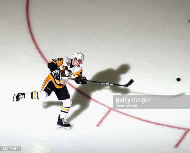 Jake Guentzel of the Pittsburgh Penguins skates in warmups prior to the game against the New Jersey Devils at the Prudential Center on April 6 2017...