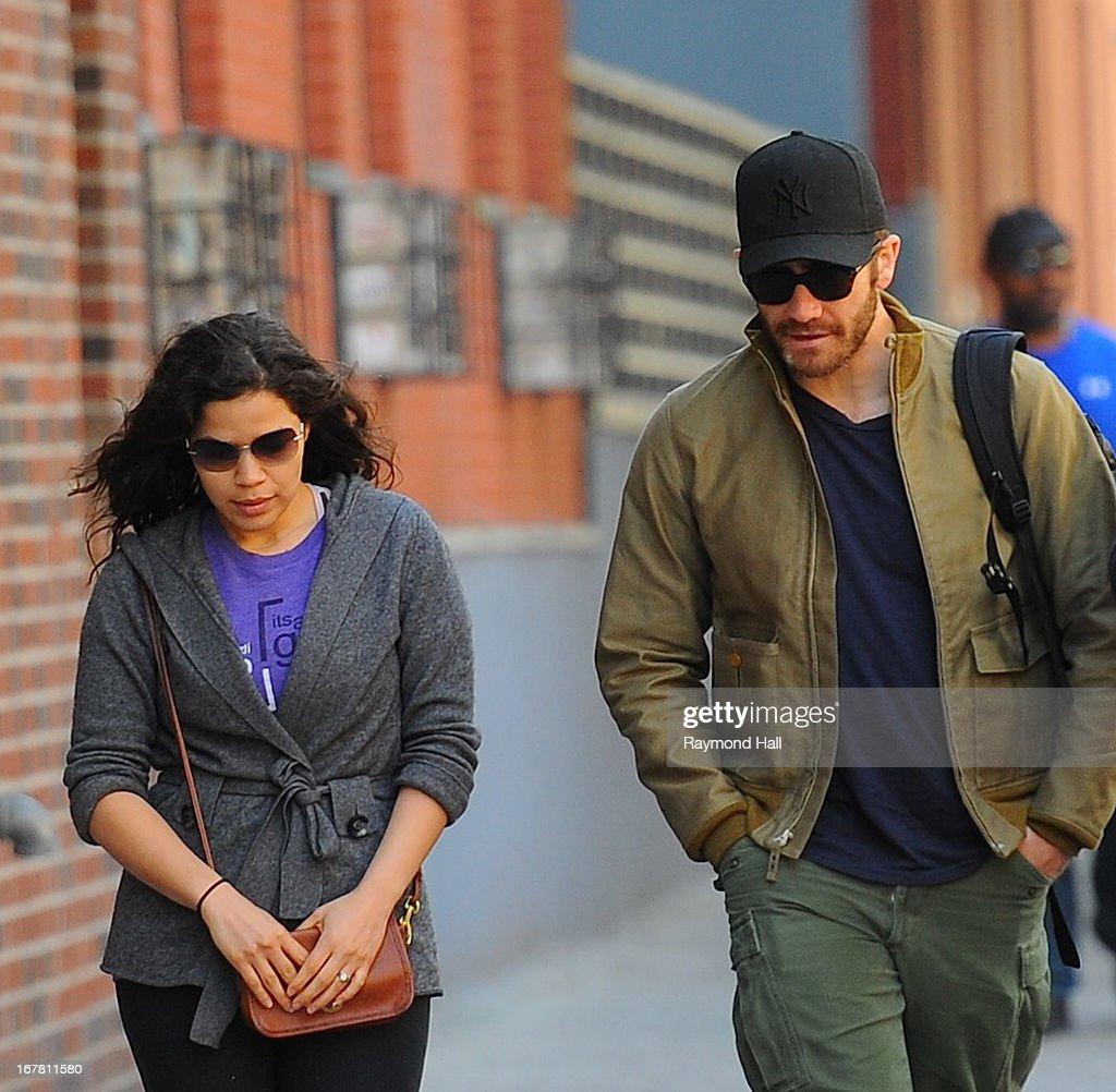 Jake Gyllenhaal and America Ferrera seen in Soho on April 30, 2013 in New York City.