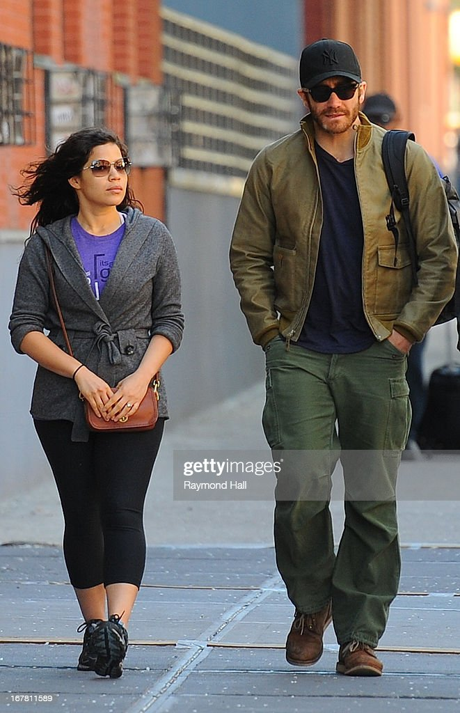 Jake Gyllenhaal and America Ferrera seen in Soho on April 30, 2013 in New York City.