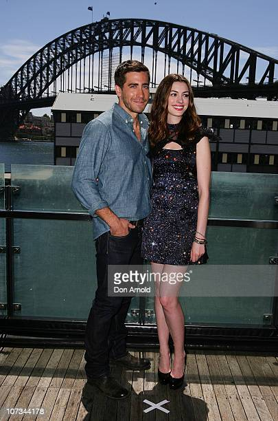 Jake Gyllenhaal and Anne Hathaway arrive for the 'Love Other Drugs' Press Conference at the Wharf Theatre on December 6 2010 in Sydney Australia