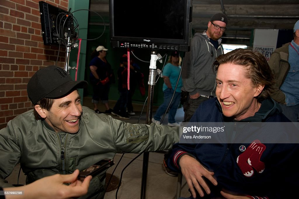 Jake Gyllenhaal and director David Gordon Green at the 'Stronger' Press Conference at Fenway Park on May 11 2016 in Boston MA