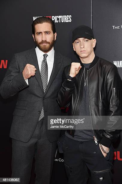 Jake Gyllenhaal and Eminem attend the New York premiere of 'Southpaw' at AMC Loews Lincoln Square on July 20 2015 in New York City