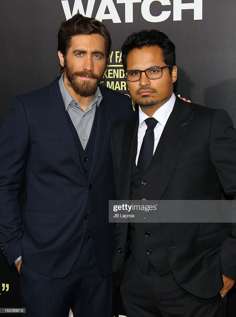 <a gi-track='captionPersonalityLinkClicked' href=/galleries/search?phrase=Jake+Gyllenhaal&family=editorial&specificpeople=201833 ng-click='$event.stopPropagation()'>Jake Gyllenhaal</a> and Michael Pena attend the 'End Of Watch' Los Angeles premiere at Regal Cinemas L.A. Live on September 17, 2012 in Los Angeles, California.