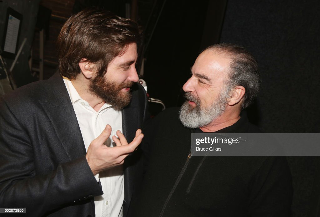 Jake Gyllenhaal as 'Geroge' and Mandy Patinkin (who played the role of 'George' in the 1984 Original Production) chat backstage at the hit musical revival of 'Sunday in The Park with George' on Broadway at The Hudson Theatre on March 12, 2017 in New York City.