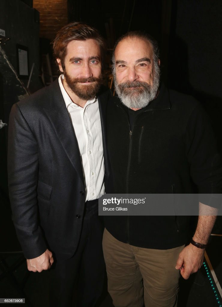 Jake Gyllenhaal as 'Geroge' and Mandy Patinkin (who played the role of 'George' in the 1984 Original Production) pose backstage at the hit musical revival of 'Sunday in The Park with George' on Broadway at The Hudson Theatre on March 12, 2017 in New York City.
