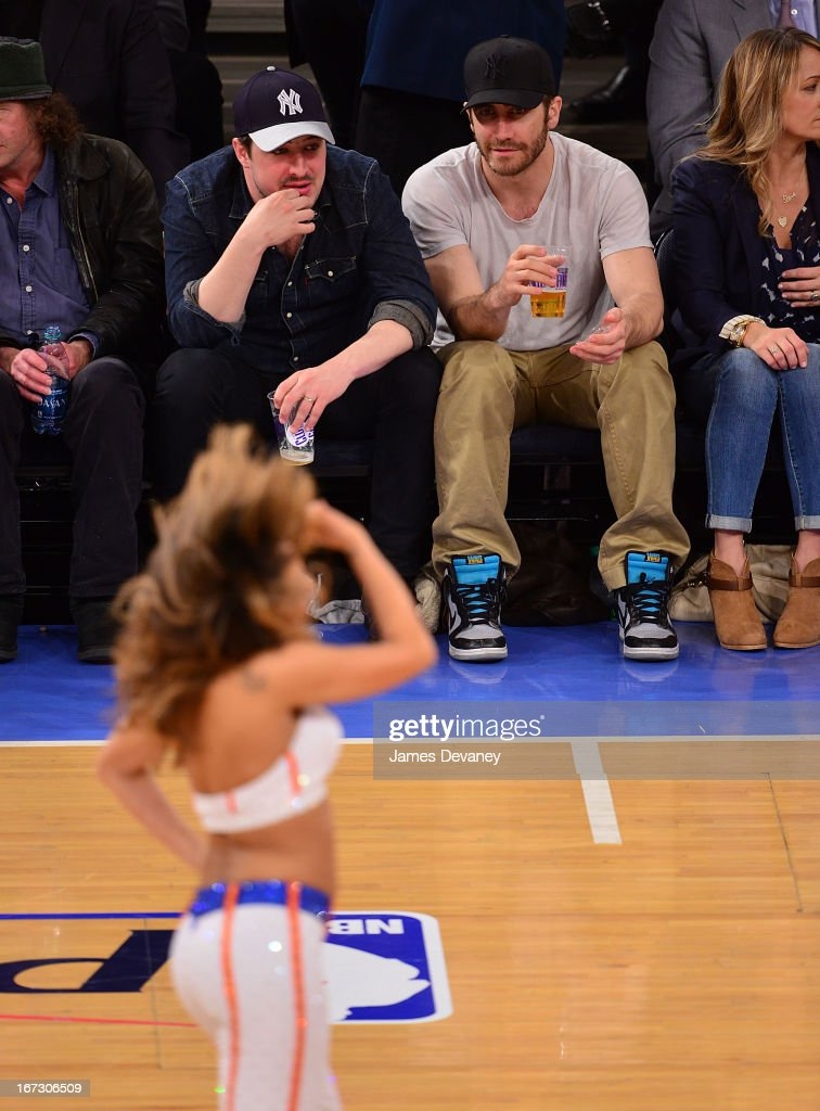 <a gi-track='captionPersonalityLinkClicked' href=/galleries/search?phrase=Jake+Gyllenhaal&family=editorial&specificpeople=201833 ng-click='$event.stopPropagation()'>Jake Gyllenhaal</a> attends the Boston Celtics vs New York Knicks Playoff Game at Madison Square Garden on April 23, 2013 in New York City.