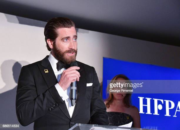 Jake Gyllenhaal attends the Hollywood Foreign Press Association's 2017 Cannes Film Festival Event in honour of the International Rescue Committee...