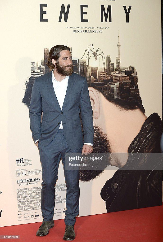<a gi-track='captionPersonalityLinkClicked' href=/galleries/search?phrase=Jake+Gyllenhaal&family=editorial&specificpeople=201833 ng-click='$event.stopPropagation()'>Jake Gyllenhaal</a> attends the premiere of 'Enemy' at Palafox Cinema on March 20, 2014 in Madrid, Spain.
