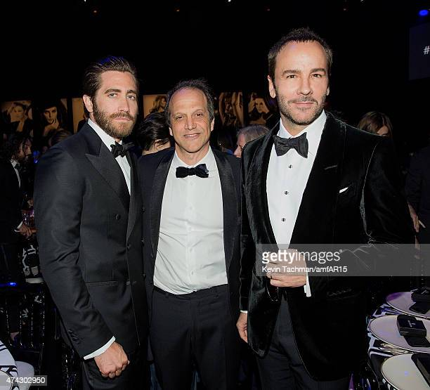 Jake Gyllenhaal Bold Films' CEO Gary Michael Walters and Tom Ford attend dinner for the amfAR 22nd Annual Cinema Against AIDS Gala at Hotel du...