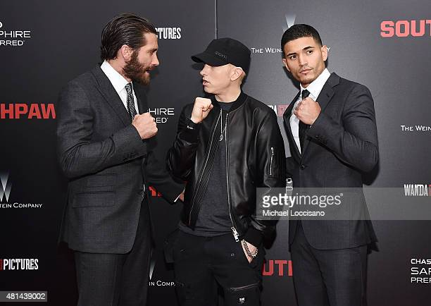 Jake Gyllenhaal Eminem and Miguel Gomez attend the New York premiere of 'Southpaw' for THE WRAP at AMC Loews Lincoln Square on July 20 2015 in New...