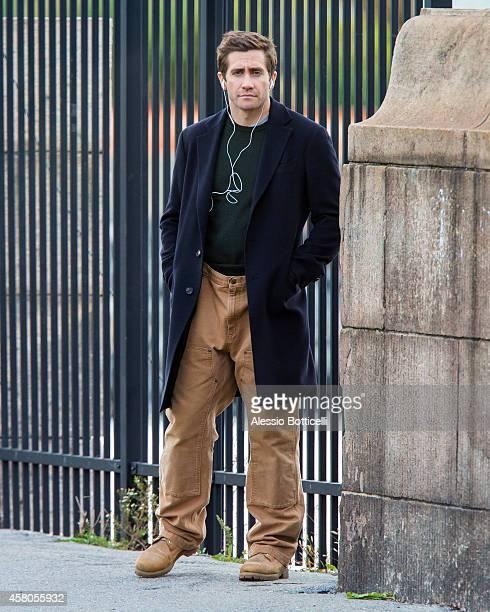 Jake Gyllenhaal is seen filming 'Demolition' in Hudson River Park on October 29 2014 in New York City