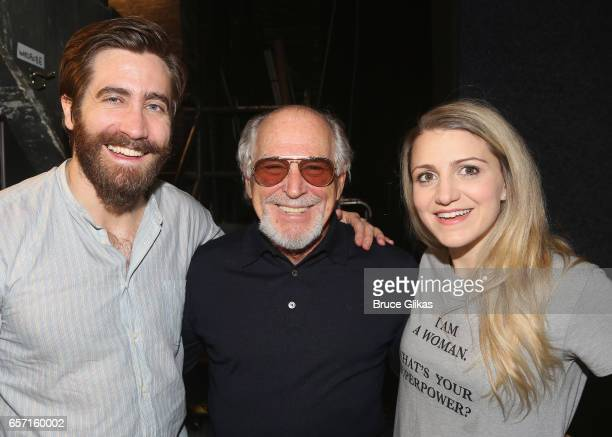 Jake Gyllenhaal Jimmy Buffett and Annaleigh Ashford pose backstage at the hit musical 'Sunday in The Park with George' on Broadway at The Hudson...