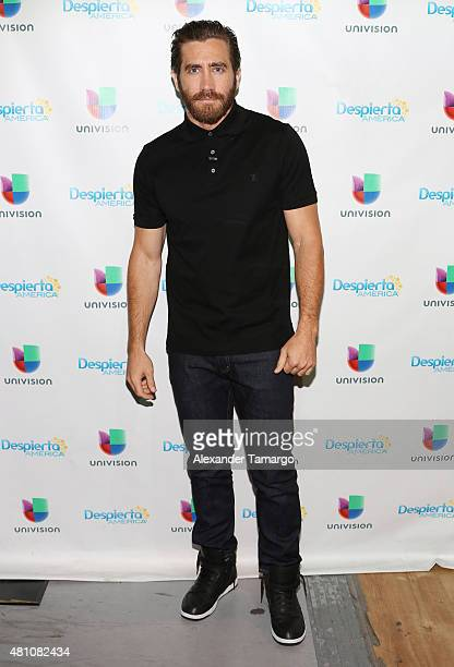 Jake Gyllenhaal visits the set of 'Despierta America' to promote his film 'Southpaw' at Univision Studios on July 17 2015 in Miami Florida