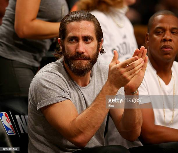 Jake Gyllenhall attends Game Three of the Eastern Conference Semifinals during the 2014 NBA Playoffs at the Barclays Center on May 10 2014 in the...